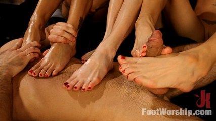 Feet Worship Banging -  3 Legendary MILF Superstars And The Pizza Boy!